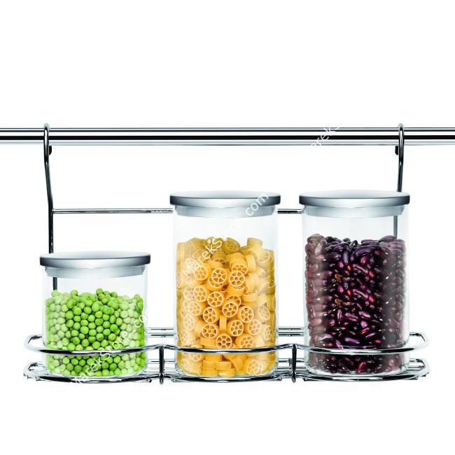 Stalowa półeczka na  pojemniki na reling kuchenny